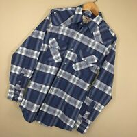 Big Mac Work Wear S Small Shirt Pearl Snap Blue Plaid Western Rodeo Mens  V4