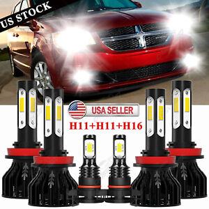 6Pcs LED Headlight + Fog Bulbs For Dodge Grand Caravan 2011-2019 2012 2013 2016