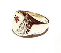 Gelbgold Rubin Signet Ring Herren Gekennzeichnet Britisch Handgefertigt Größe P
