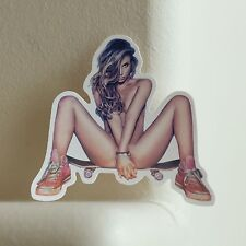 pin up sexy hookup nude swag hottie blonde girl skateboard decal sticker #2435