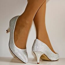 Ladies 1013 Wedding Bridal Prom Party Low Kitten Heel Diamante Court Shoes PUMPS UK 5 / EU 38 / US 7 Gold