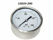 "New Hydraulic Liquid Filled Pressure Gauge 0-300 PSI 1/4"" NPT Center Back Mount"