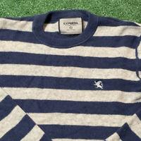 Express Sweater Men M L Adult Striped Blue Gray Pullover Crewneck Cashmere Blend