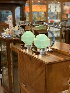 Pair of Aeronautique Lamps with Original Art Deco - Jade Green Glass Shades
