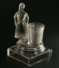 ~ Antique c.1890 PRETTY MAIDEN Pressed EAPG Pattern Glass Toothpick Match Holder