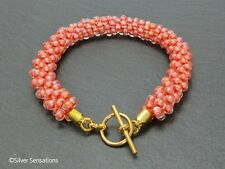 Pastel Peach Beaded & Braided Woven Kumihimo Fashion Seed Bead Summery Bracelet