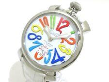 Auth GAGA MILANO Manuale 48 White N33112 Men's Wrist Watch