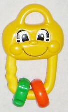 """Yellow 5"""" Fisher Price Teether Baby Toy w Smilly Face Rattle"""