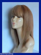 100% REAL HUMAN HAIR LADY WIG MEDIUM GOLDEN BROWN & HONEY BLONDE 10/16#