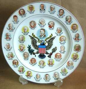 "10"" Washington thru Jimmy Carter Collector Plate 200 Yr Presidents 1977 FREE SH"