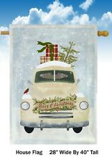 White Christmas Truck and Tree House Flag Quality Double Sided  28x40