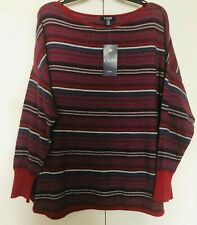 Chaps Women's Pullover Sz 1X - $76  New with Tags  - Crew Neck Striped Red/Navy