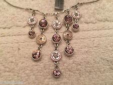Pilgrim Cascade Necklace Bling Flower Bib Lavender Swarovski / Enamel RV