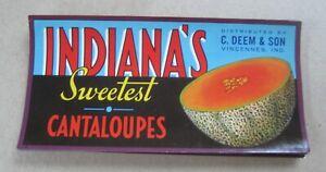 Wholesale Lot of 50 Old Vintage - INDIANA'S Cantaloupe - LABELS Vincennes IND.