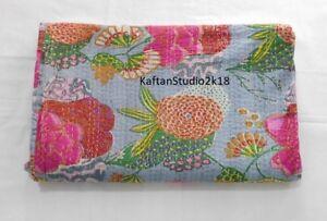 Cotton Blanket Indian Handmade Fruit Screen Print Twin Kantha Quilt Grey New
