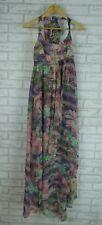 LEONA EDMISTON Maxi Dress Halter Style Sz 8  Purple, Pink, Green Floral Print