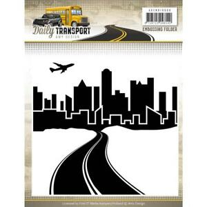 TRANSPORT City Sky Scene Embossing Folder Find It Trading Amy Design ADEMB10009