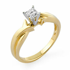 0.51 Ct Princess Cut H VS2 Diamond Solitaire Engagement Ring 14k Gold Yellow