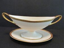 Antique Lenox O-14 Gold Encrusted Oval Compote & Underplate #1942 Ivory c1916-30