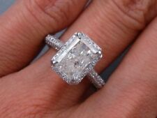 3Ct Radiant Shape Diamond Halo Engagement Ring Wedding Prong 14K White Gold Over