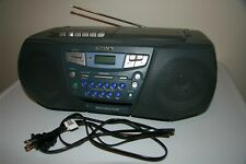 Sony Cfd-S22 Mega Bass Cd Player Am Fm Radio Cassette Boombox Gray Tested +Cable