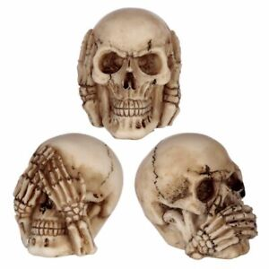 3 Gruesome Gothic Wise Skulls - Hear No Evil - Speak No Evil - See No Evil