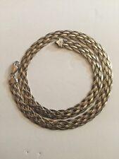 "VTG 18"" Six flat Strand Braided Vintage 925 Sterling Silver 3/8"" wide Necklace"
