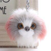 Cute Fluffy Ball Faux Fur Dog Cat Pendant Car Keychain Handbag Charm Keyring Pom
