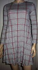 O.K Black White Checked Long Sleeve Casual Tunic Style  Dress Size S BNWT