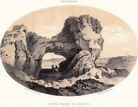Roche Percée Biarritz Basses Pyrénées Lithographie Gorse 1850 Occitanie