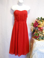 SIZE M Prom Formal Dress Solid Red Chiffon Overlay Strapless Ruched Bodice