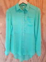 FREE PEOPLE Women's Blouse Long Sleeve Button Down High-Low Semi Sheer.Size XS
