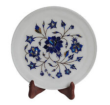 "8""x 8"" Marble Serving Plate Semi Precious Lapis  Marquetry Collectible Art H1344"