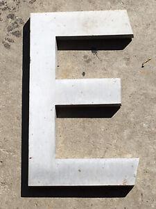 """VINTAGE CAST ALUMINUM LETTER 12 IN. TALL - LETTER """"E"""""""