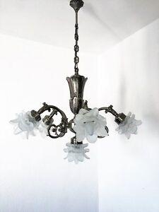 Kronleuchter Chandelier Decken Lampe 6-fl.Versilbert aus Messing massiv