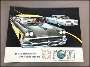 1958 Ford Vintage Car Sales Brochure Poster  Thunderbird Galaxie Fairlane