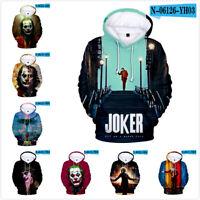 Men Women Sweatshirt Movie Jacket Hoodie Coat Pullover Tops JOKER 3D Print NEW