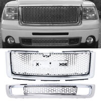 Front Bumper Upper Grill + Lower Grille For 07-13 GMC Sierra 1500 New Body style