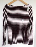 NWT GAP Women's Favorite LS T-Shirt Burgundy Stripe Boat Neck Sizes XS S L New