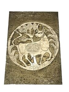 """1967 ORIGINAL RODNEY WINFIELD CARVED TRAVERTINE SIGNED ART PLAQUE 14"""" By 10"""""""