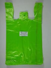 "200 Qty. Lime Plastic T-Shirt Retail Shopping Bags with Handles 11.5"" x 6"" x21"""