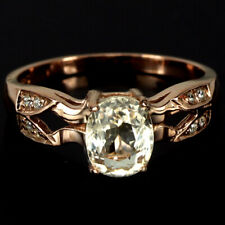 NATURAL YELLOW MORGANITE OVAL & WHITE CZ STERLING 925 SILVER RING SIZE 8.75