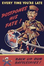 1941 WW2 USA NAZI AXIS JAPAN HIROHITO TOJO ARMY PACIFIC WAR MAP KNIFE Postcard
