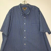 The Foundry 3XLT Blue Shirt Big Tall Mens Plaid Short Sleeve Buttons Easy Care