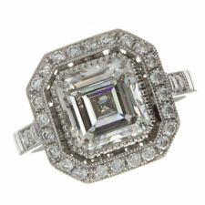 3.32ct Certified Asscher Cut Diamond Antique  Engagement Ring