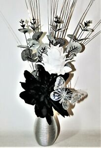 Artificial Flowers, Black & White Flower Arrangement in Small Silver Vase
