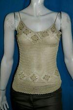 CAROLL Taille 42 Superbe haut top débardeur beige femme tee shirt T-shirt