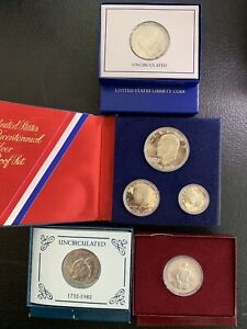 1976, 1982 & 1986 $1 & 50C Silver Coins In OGP / Nice Clean Coins & *No Reserve!