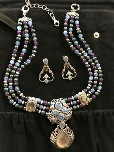 Carolyn Pollack Sterling Silver Gemstone Bead Necklace with Enhancer & Earrings