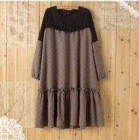 Mori Girl Long Sleeve Jacquard Dress Sweet Lolita Vintage Gored Skirt Harajuku